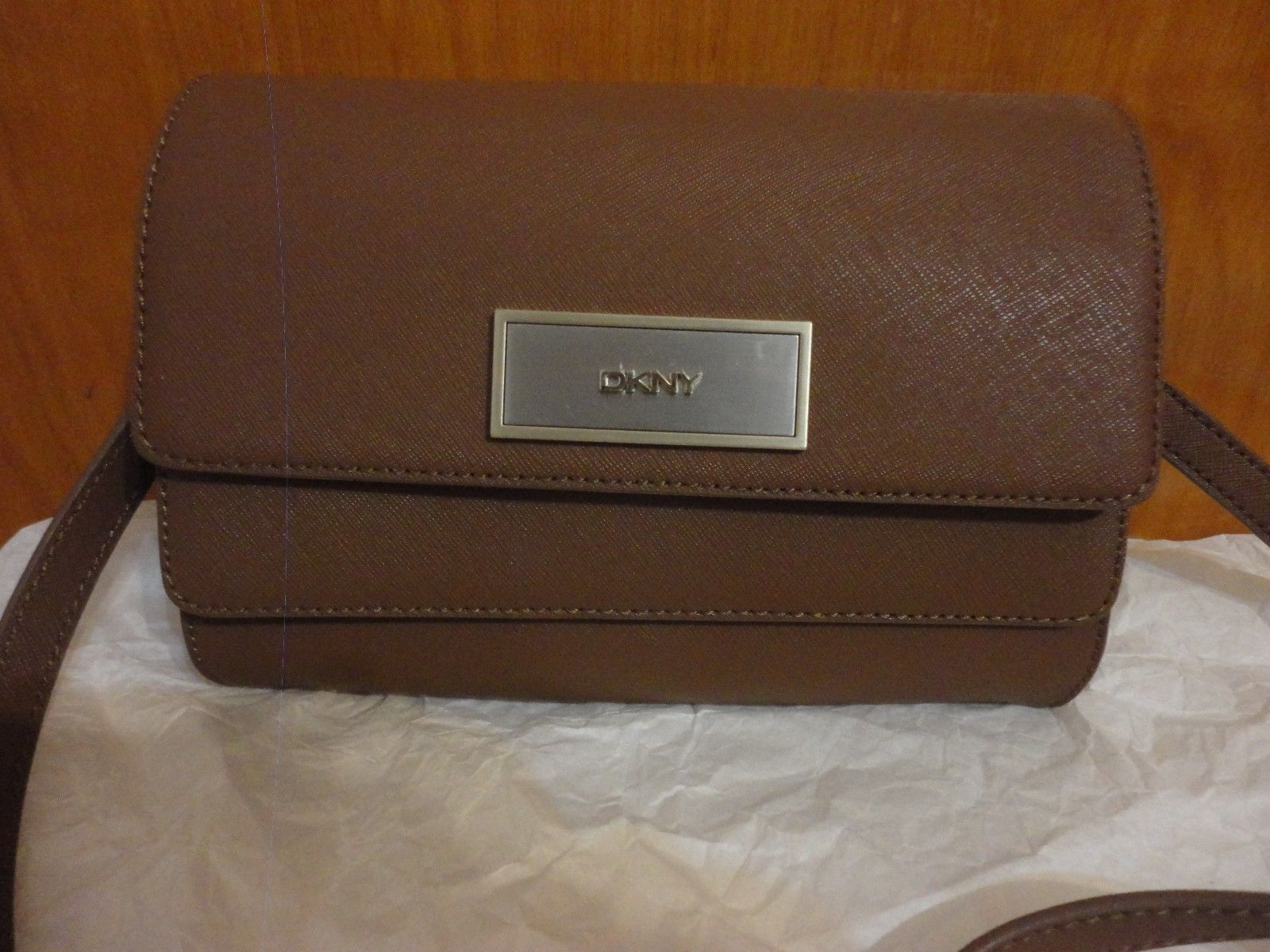 DKNY $198 Brown Luggage Saffiano Leather Double Flap Crossbody Bag