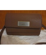 DKNY $198 Brown Luggage Saffiano Leather Double Flap Crossbody Bag - $42.00