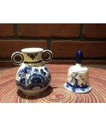 Miniature Delft Porcelain Bell and Vase - Holland - Flowers/Windmill - $14.95