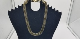 "Vintage Gold Tone With Black Enamel Link Heavy Necklace 7"" Long Closed EUC - $21.26"