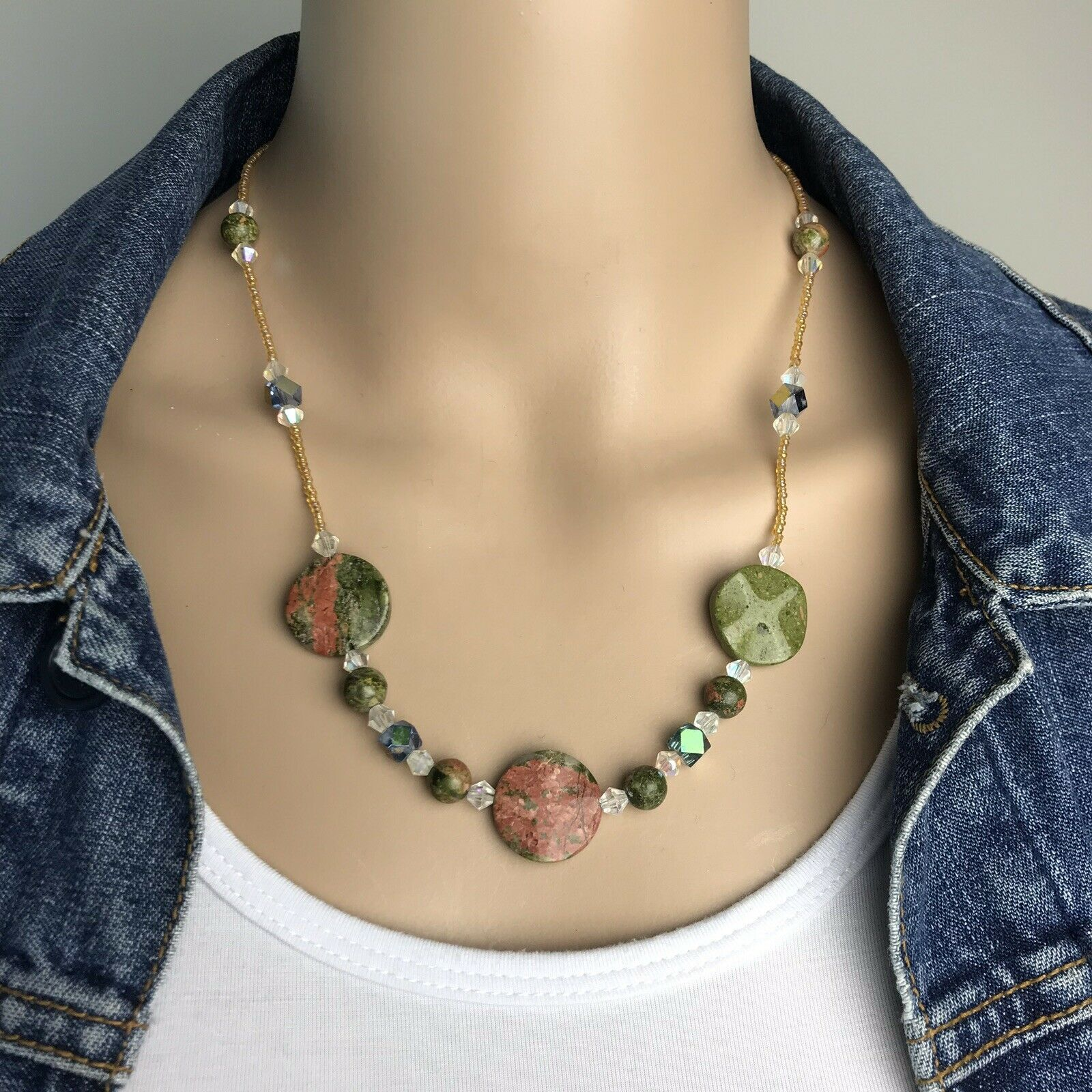 Primary image for Vintage Green Pink Unakite Jasper Gemstone and Golden AB Seed Bead Necklace 21""