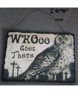 Who WHOOO Goes there Owl Vintage-look Halloween Wooden glitter Sign  - $5.99