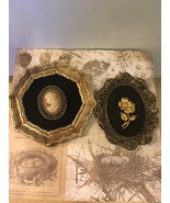 Set of Two Black & Gold Cameo Like Wall Hangings - $14.00