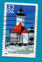 Scott  #2970 Used US Postage Stamp (1995) 32 c St. Joseph Lighthouse - $1.99