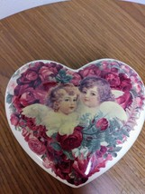 Porcelain Heart Shape Roses 2 Cherub Angels Trinket Jewelry Dish image 1