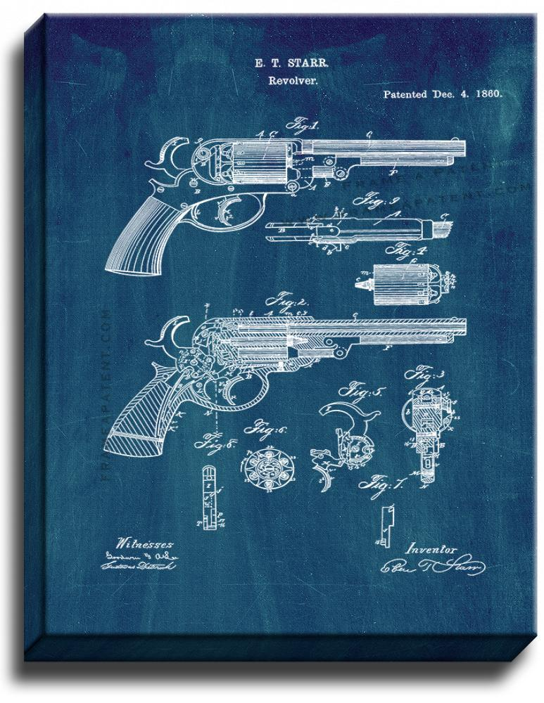 Primary image for Revolver Patent Print Midnight Blue on Canvas