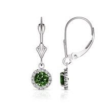 1.25CTW Round Halo Emerald Drop Dangle Leverback Earrings 14K White Gold - $114.82