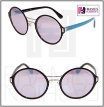 Prada Mod Round PR57TS Blue Silver Mirrored Black Metal Sunglasses 57T Unisex - $207.90