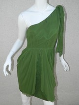 Alice + Olivia Dress Green One Shoulder Draped Cocktail Silk  Dress Sz M - $74.55