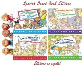 SPANISH Five Little Monkeys BOARD BOOK Set 1-4 WITH FINGER PUPPETS EN ES... - $53.99
