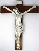 WALL CRUCIFIX, WOOD, SILVER CHRIST SMOOTH AND SATIN, 10 INCHES, MADE IN ITALY image 1