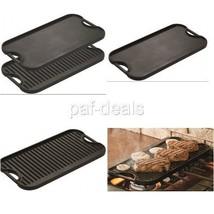 Double Burner Griddle Stove Reversible Cast Iron Grilling Preseasoned Pl... - $55.76