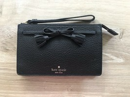 NWT Kate Spade Hayes Wristlet Pouch Wallet Black Leather - $45.99