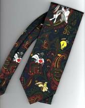 Looney Tunes Paisley Necktie Bugs Bunny Daffy Duck Wile E Coyote Silk Tie - $12.00