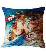 Oil Painting Horse Head Hand Painted Throw Pillow Case Cotton Blend Linen - $19.55 CAD