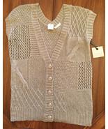 Hinge Biege Cardigan Sweater Vest  Women's Size 1 ~ MSRP $89 ~ NEW - $21.28