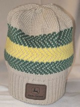 John Deere LP67786 Acrylic Knitted Tan Green And Yellow Beanie image 1