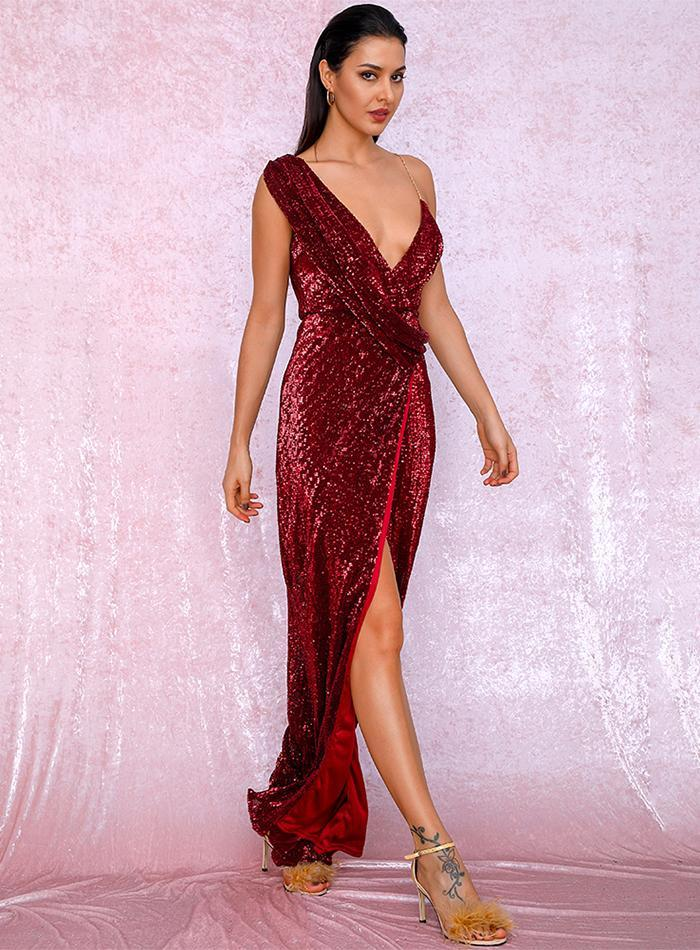 Primary image for Red Deep V-Neck Thigh Split Sequin Maxi Formal Dress