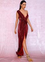Red Deep V-Neck Thigh Split Sequin Maxi Formal Dress - $57.95