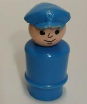 Fisher Price Little People Pilot Mailman Man Blue Hat Cap Plastic Head Body VTG - $2.96