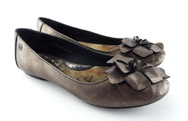 BORN Size 6.5 Pewter Silver Ballet Flats Shoes w/ Flower 6 1/2 - $39.60