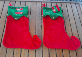 "Lot 2:  Christmas Stocking 15"" Elf Style RED Green Sequin Trim Jingle Be... - $6.39"