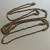 Crown Trifari Long Gold Tone Rope Chain Necklace Vintage Station Style Signed - $39.55