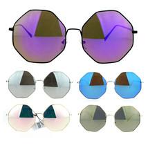 SA106 Womens Color Mirror Octagonal Groovy Sunglasses - $17.07 CAD