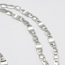 18K WHITE GOLD CHAIN FLAT OVAL ALTERNATE LINK 3 MM, 20 INCHES, ITALY MADE image 2