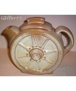 "FRANKOMA WAGON WHEEL GOLD GREENE TEAPOT   7"" x 8"" x 2 3/4"" - $32.50"