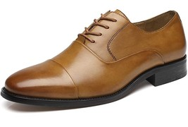 Handmade Men Brown Leather Oxford Shoes image 3