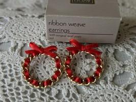Avon Designer Signed Ribbon Weave Wreath Pierced Earrings  - $12.60
