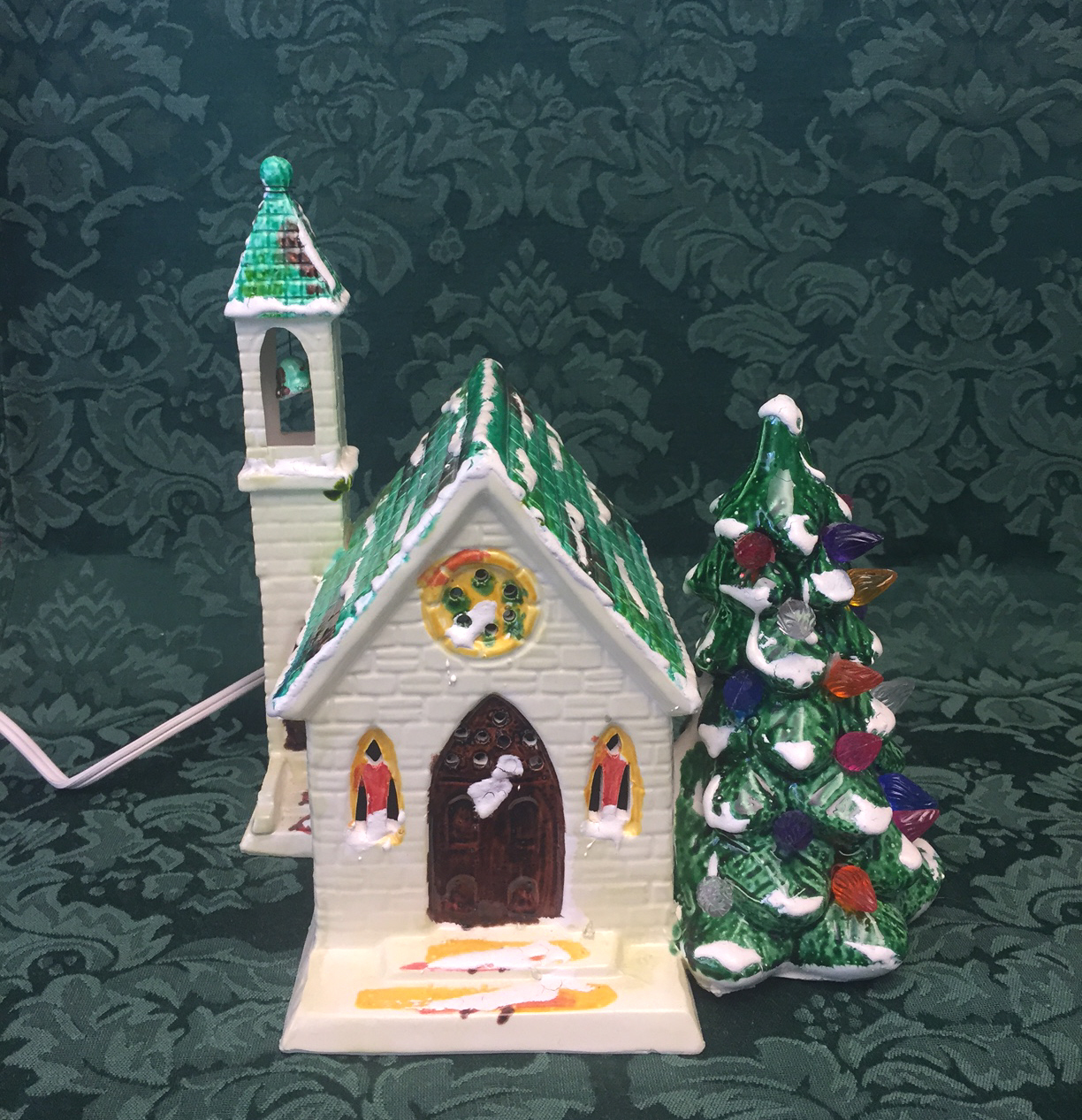 Vintage Ceramic Church With Christmas Tree And 50 Similar Items