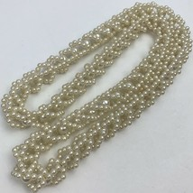 Vintage Faux Pearl Ornate Beaded Necklace Woven Chunky Caged Bead - $19.75