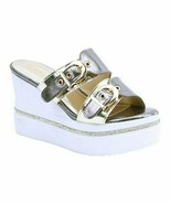 Italina, Pewter Buckle Wedge Sandal, Sz 6 - $24.75