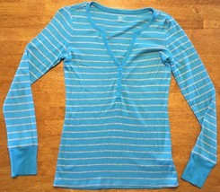 Gap Supersoft Women's Blue & Gray Striped Button Down Shirt - Size: XS - $14.84