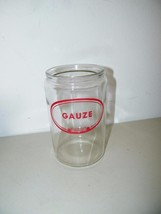 Merco Vintage Doctor Office Glass Canister Jar Gauze Red Label 13940 - $11.74