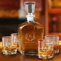 Personalized Decanter set with 4 Low Ball Glasses - $79.99