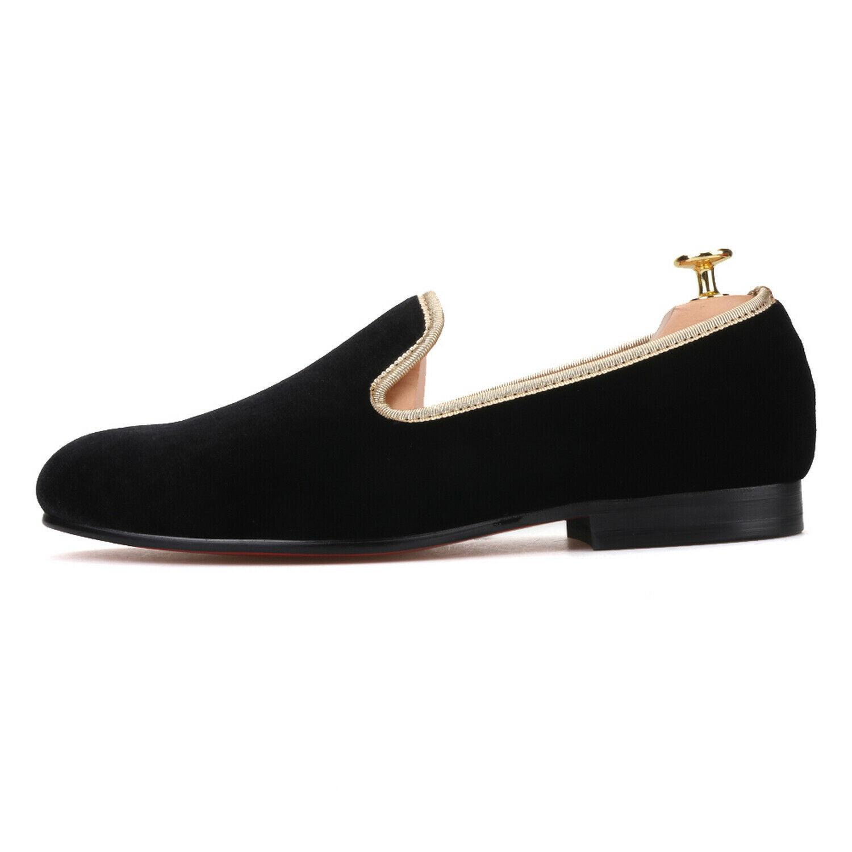 Handmade Men's Black Velvet Slip Ons Loafer Shoes