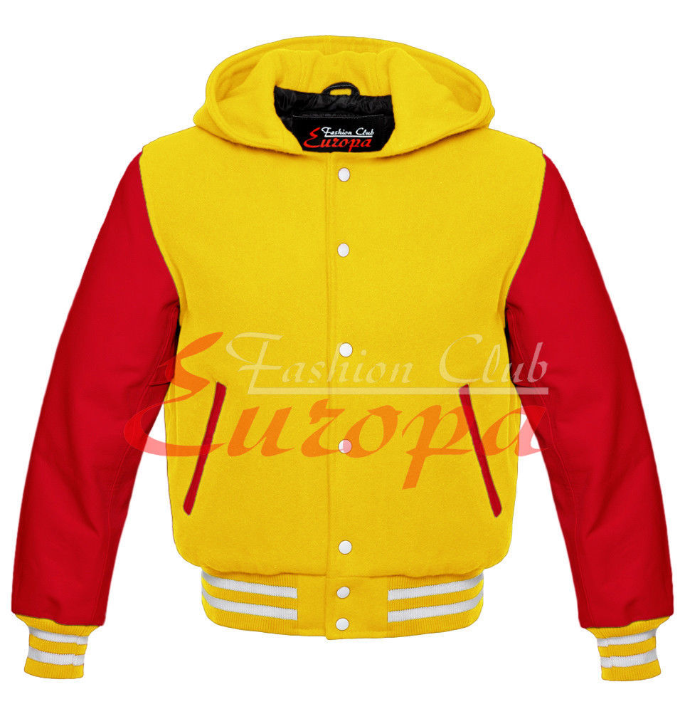 Primary image for YELLOW AMERICAN VARSITY JACKET COLLEGE HOODIE LETTERMAN & REAL LEATHER SLEEVE