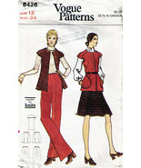 Vintage 1970's Misses' JACKET, PANTS & SKIRT VOGUE Pattern 8426-v Size 12 - $10.00