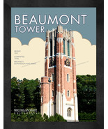 """Michigan State """"Beaumont Tower"""" 13 x 16 Art Deco Framed Print  - $39.95"""