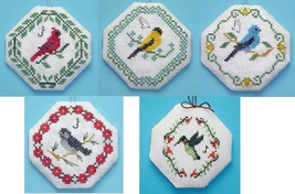 Songbird Ornaments SET OF 5 cross stitch charts with charms Handblessings - $15.00