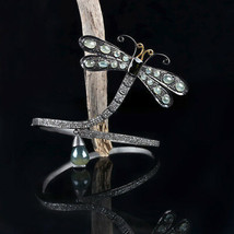 Quartz Peridot Gemstone Dragonfly Bracelet Solid Sterling Silver Diamond... - $1,256.31