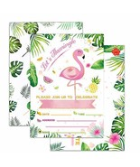 WERNNSAI Glitter Flamingo Party Invitations with Envelopes - 20 Set Luau... - $11.34