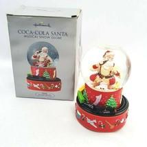Hallmark 2001 Christmas Coca-Cola Santa Musical Snow Globe w/ Moving Train Box - $22.98