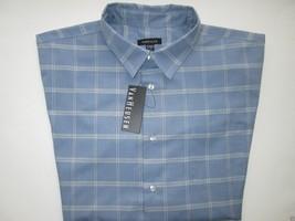 Van Heusen Spread Faux Linen Men' Sport Shirt Blue Infinity XL MSRP $50 - $28.49