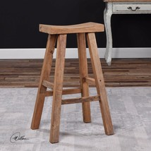 "STATELY 30"" RUSTIC RECLAIMED ELM WOOD BAR STOOL MILKING STOOL STYLE SEAT - $215.60"