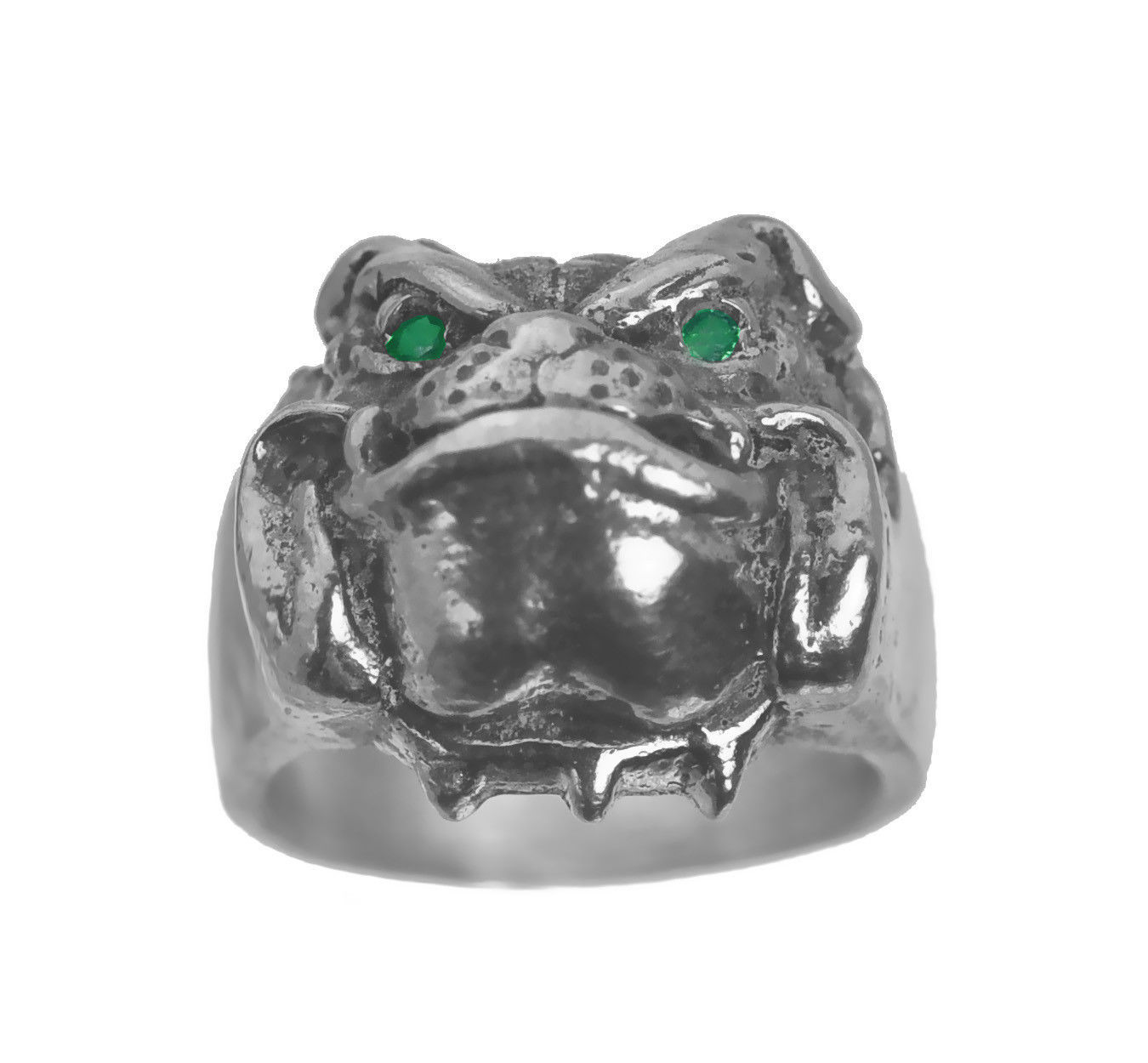 Solid Heavy Bulldog Pug Dog Jewelry Sterling silver .925 ring Emerald eyes New