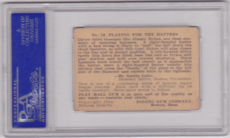 Jimmy Dykes 1933 DeLong #18 PSA 3 VG